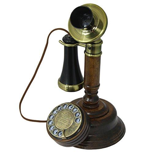 Opis 1921 Cable - Modell C - Retro Telefon aus Holz, schwarzem und mit Messing überzogenem Plastik - mit echter, rotierender Wählscheibe und Metallklingel