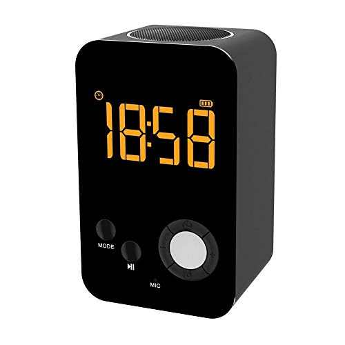 heirao4072 Mini Altavoz Inalámbrico Bluetooth con Alarma De Reloj De Pantalla LCD, Mini Altavoz De Ducha Multifunción para Deportes Al Aire Libre, Piscina, Playa, Senderismo