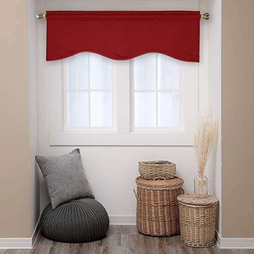 Deconovo Blackout Scalloped Valance Curtains Solid Rod Pocket Valances for Bathroom Window 52x18 Inch True Red 1 Panel