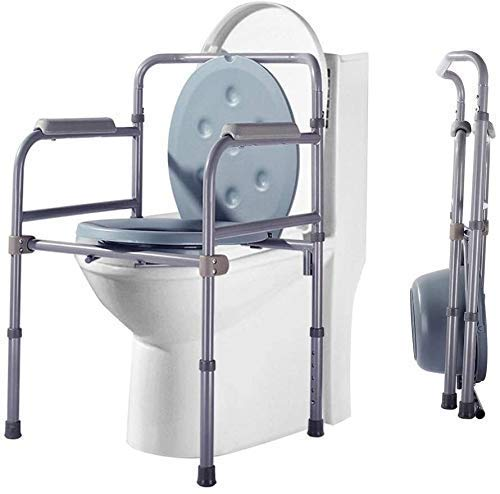 Home Adults Adjustable Height Commode Chair with Splash Guard Bucket/lid for Over Toilet and Bedside 819