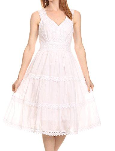 Sakkas KD2155 - Presta Roman Sleeveless Lined Tank Top Dress with Emrboidery Lace Design - White - XL