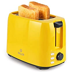 professional iSiLER 2 slice toaster, 1.3 inch wide slot toaster, 7 shadow settings, double sided …
