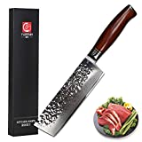 Yarenh Nakiri Knife Sharp 6.5 Inch - Japanese Super 73 Layers Damascus Steel