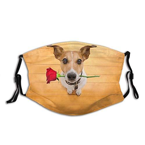 KINGAM Jack Russell Dog Love On Valentines - Polaina para el cuello de la cara y la cara, máscara de polvo, transpirable, resistente al viento, pesca, senderismo, correr, ciclismo