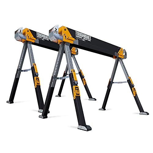 ToughBuilt - Folding Sawhorse - Sturdy, Durable, Lightweight, Heavy-Duty, 100% High Grade Steel - Adjustable up to 4x4 Size Support Arms - 1300 LB...