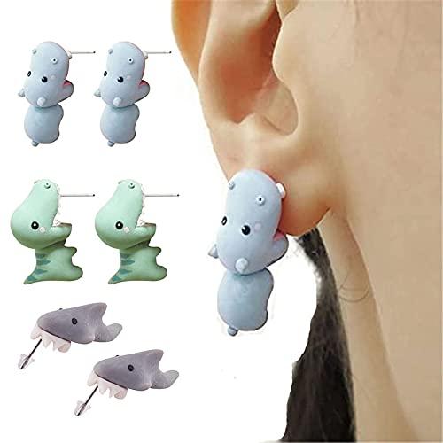 3 Pairs Cute Animal Bite Earring Polymer Studs - 3D Lovely Cartoon Animal Earring Studs for Women, Shark Bite Ear Studs Piercing Earrings, Cute Ear Decors (B)