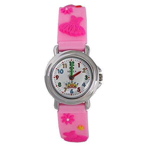 Marea Reloj de pulsera para niñas con diseño de corona/vestido rosa, correa de silicona, sin níquel