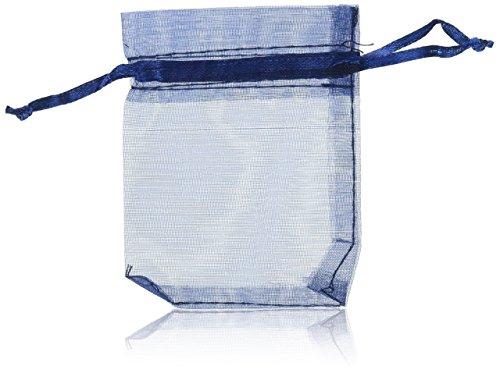 Lalago 100 Pieces Navy Blue Organza Wedding Favour Bags Gift Mini Jewelry Bags, 0.3 Ounce