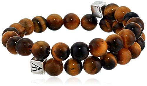 Alex and Ani Men's Beaded Tiger's Eye Gemstone Wrap Bracelet, Tiger's Eye/Rafaelian Silver, Expandable