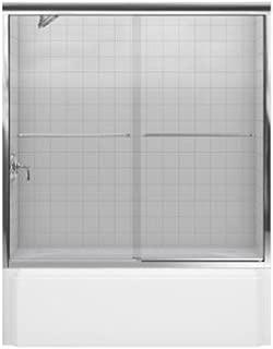 Kohler R702200-L-SHP Fluence Frameless Bypass Shower Door with Crystal Glass, Bright Polished Silver