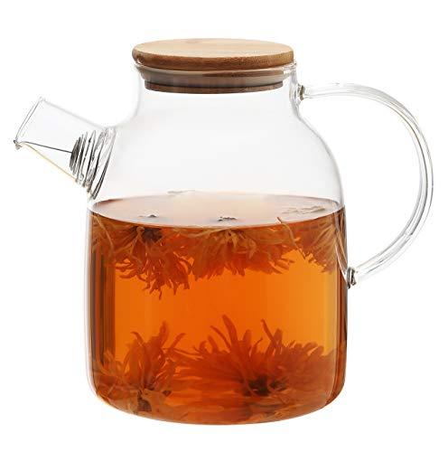 Teekanne mit Bambus Deckel 1,5 Liter - Filter im Auslauf - Spülmaschinenfest - Krug für Kalte/Heiße Getränke