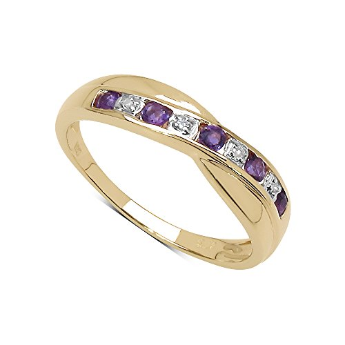 The Diamond Ring Collection: 9ct Gold o.25ct Amethyst & Diamond Channel Set Crossover Eternity Ring (Size O)