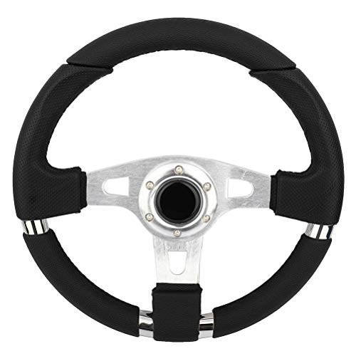 SCITOO 340mm Racing Sports JDM Style Black Stitch Leather Car Racing Steering Wheel Sports Drifting Wheel &Horn Button Aluminum Black