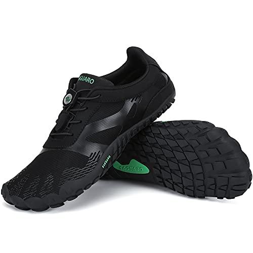 SAGUARO Zapatillas Minimalistas Mujer Zapatillas de Barefoot Hombre Zapatillas de Trail Running Ligera Zapatillas de Deporte Fitness Stil: A Negro Gr.38