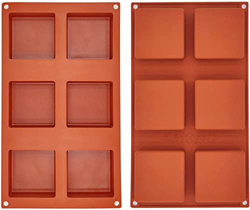 Molde cuadrado de silicona para tartas de 6 cavidades para chocolate caliente, jalea de pudín hecho a mano, molde de jabón para dulces, molde para hornear de 7,6 cm, 2 unidades
