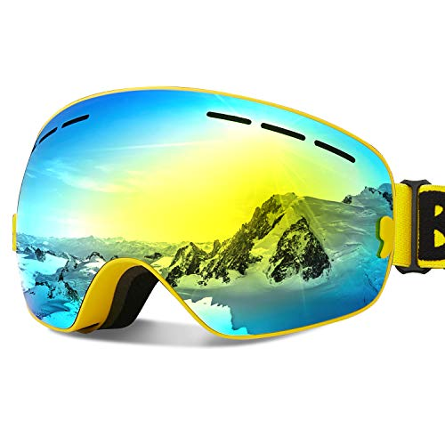 Ski Goggles Snow Snowboard Goggles for Men Women Youth 100% UV Protection Anti Fog with Spherical Detachable Lens Eyewear Padded Soft Thick Foam Helmet Compatible, OTG Ski Snowboard Goggles