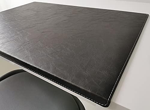 Vade de escritorio inclinado con protector de bordes en piel Lora 70 x 47 cm, color negro