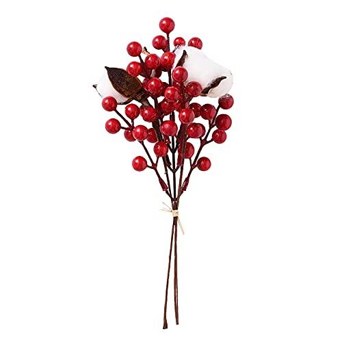MOOVGTP Paquete de 6 tallos artificiales de bayas rojas, 10.6 pulgadas de falso bayas de seda con algodón de acebo de Navidad ramas para bodas, vacaciones y decoración del hogar