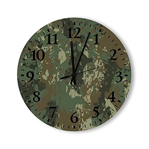 Reloj de pared de madera rústico de 15 pulgadas, funciona con pilas, diseño de camuflaje vintage, redondo, reloj de pared de madera, bonito para cocina, dormitorios, baño, sala de estar
