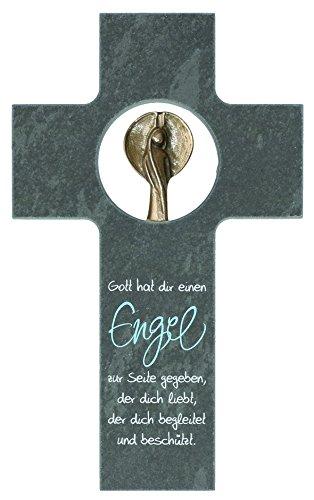 Butzon & Bercker 154620 Schieferkreuz mit Bronze Engel