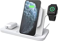 includes stand and AC adapter with 5-foot cable three charging options: angled pad for smartphone, magnetic pad for Apple Watch, and flat charging pad for other Qi-compatible device foreign object detection prevents charging when objects obstruct cha...