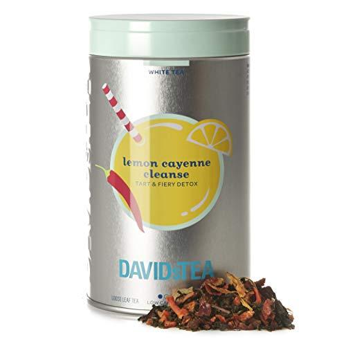 DAVIDsTEA Lemon Cayenne Cleanse Loose Leaf Tea Iconic Tin, Premium Detoxifying White Tea with Lemon and Cayenne, 2.7 oz / 77 g