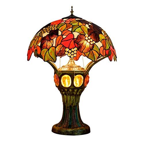 NIANZAI Hongfubang Lámpara de Mesa Decoración LED Escritorio Luz Imitación Antigua for Dormitorio Sala de Estar Colorida Lámpara de Cristal Hecho A Mano Artesanía Regalo Aluminio Aleación Base