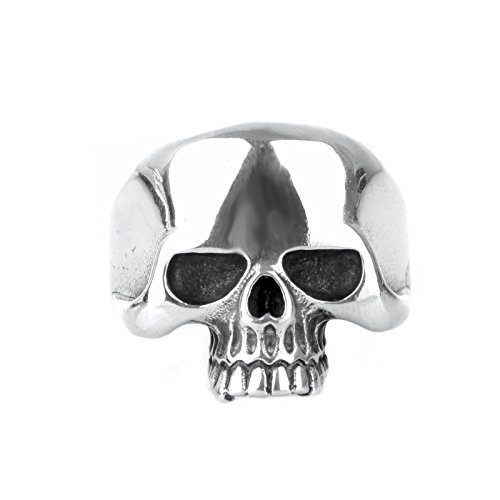 Copaul Anello da motociclista da uomo, teschio in acciaio inossidabile argento, dimensioni 54(17,2) - 70(22,3) e acciaio inossidabile, 59 (18.8), cod. 4DEBI0043-9