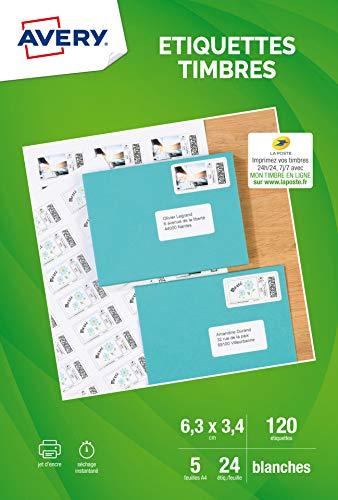 AVERY - Pochette de 120 étiquettes autocollantes pour imprimer ses timbres, Personnalisables et imprimables, Format 63,5 33,9 mm, Impression jet dencre,