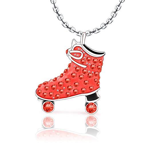 VU100 Patinaje sobre Hielo Collar De Cristal Rojo para Niñas Adolescentes Mujeres L Patinaje sobre Hielo Figura Colgante Skater Collar Joyería Regalos