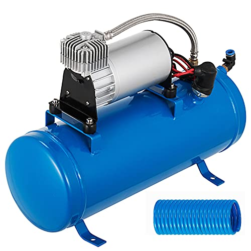 Bestauto 12V Train Horn Air Compressor with Tank 150PSI Air Car Compressor Portable Tire Inflator with 6 Liter Tank 1.6 Gallon for Train Horns Motorhome Tires