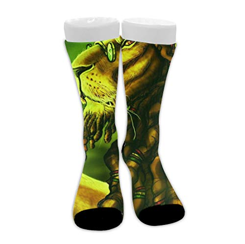 Bingyingne Jamaica Rasta Lion Dreadlocks Green High Tobillo Transpirable Cojín Calcetines para hombres Mujeres Niñas Niños