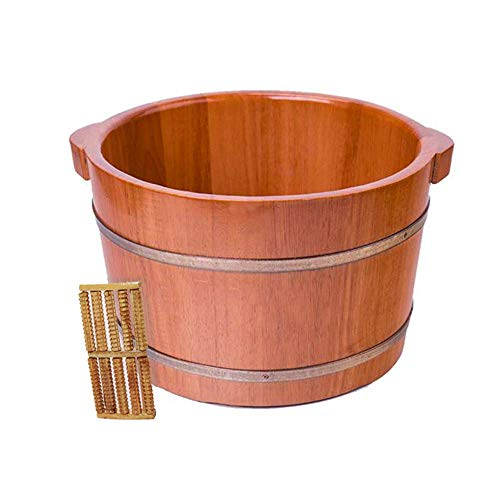 Bañera de hidromasaje para pies de madera para salón de belleza, cuenco portátil de madera maciza para baño de pies, baño de pies engrosado con tapa, artefacto de pies al vapor para el hogar, sueño d