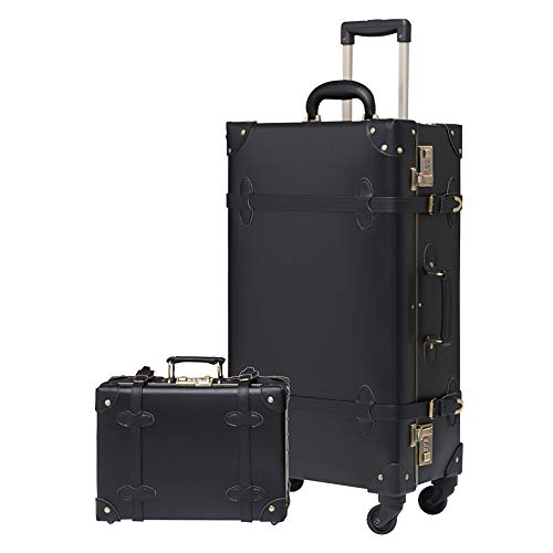 Uretravel Vintage Luggage sets Carry on Suitcase set PU Leather Rolling Spinner Trunk Luggage with 12inch carry case (Knight Black, 20'(20×13×8.3in-34L)&12in case)