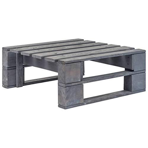 UnfadeMemory Garten Palettenhocker Imprägniertes Kiefernholz Gartenhocker Sitzhocker Paletten-Design Terrassenhocker als Couchtisch oder Fußstütze 60 x 60 x 25 cm ohne Kissen (Grau)