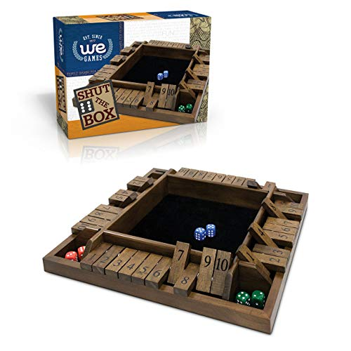 4 Player Shut The Box(TM) dice Game - 8 inches Walnut Wood – 1 to 4 Players can Play at The Same time for The Classroom, Home or Pub - Travel Size by WE Games (Reg. U.S. Pat. & Tm. Off.)