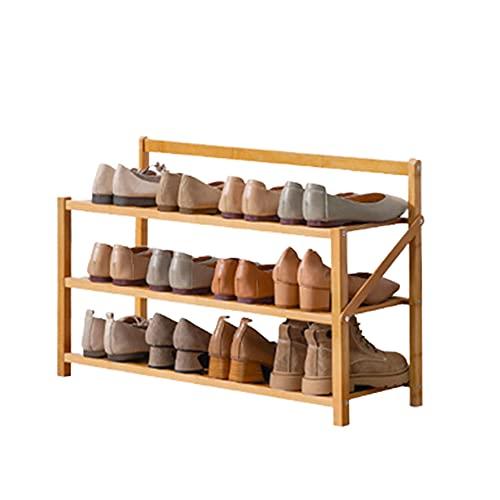 Zapatero, Estantería para Zapatos de Bambú Organizador Múltifuncional de Zapatos, Estantes Organizador Zapatos Estanteria Ideal para Entrada Baño Sala de Estar Pasillo (Wood color,3 layers/70cm)