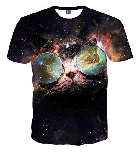 PIZOFF Unisex Print Schmale Passform T Shirts mit Karikatur Katze 3D Druckmuster, 01120015x74, S