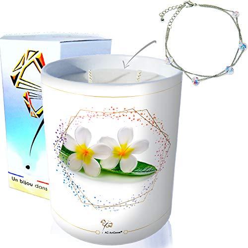 ArtGosse - Vela con joya decorada con cristales de Swarovski® • Perfume Monoï de Tahití • Pulsera con 5 perlas.