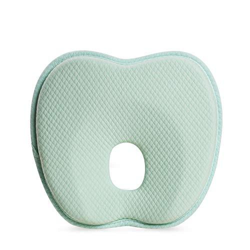 Almohada para bebé recién Nacido, Almohada Espacial de Espuma viscoelástica de Rebote Lento, Almohada en Forma de corazón, Cómoda y Transpirable, Apta para bebés de 0 a 1 años, Verde