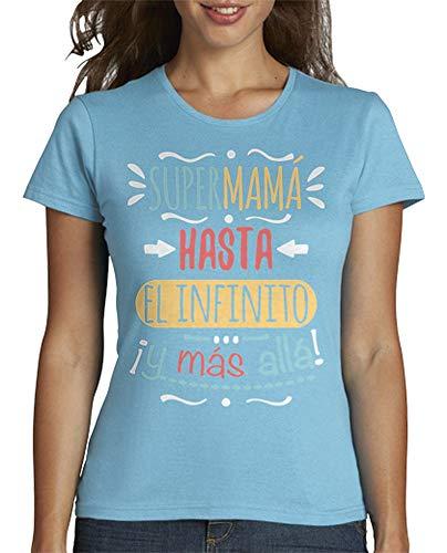 latostadora - Camiseta Supermamá hasta el para Mujer Azul Cielo M