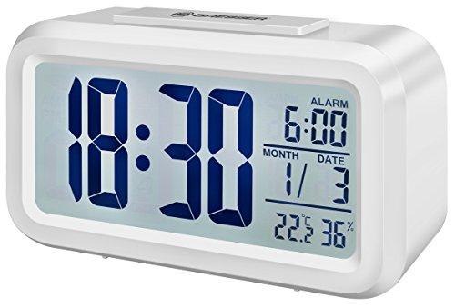 Bresser Wecker MyTime Duo mit LCD Display, Uhrzeit, Datum, Temperatur und Luftfeuchtigkeitsanzeige und zwei Weckzeiten, weiß
