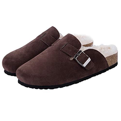ZYING Zore Invierno Mujeres Faux Vaca de Gamuza Zapatillas de Cuero Largo Peluche cálido Interior Suave Corcho toboga Calzado Calzado para Mujeres Hombres (Size : 36)