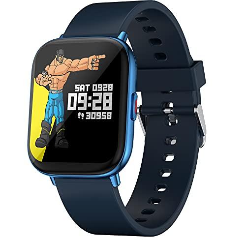 Zebronics Zeb-FIT5220CH Smart Fitness Watch, 2.5D Curved Glass 4.4cm Large Square Display, Metal Body, Dual Menu UI, 7-Day Data Storage, 8 Sports Mode, SpO2, BP & HR Monitor, (Blue)