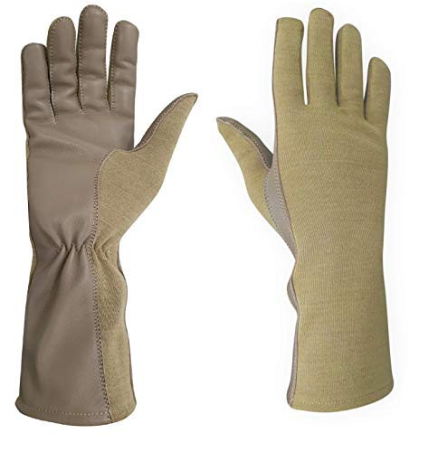 Nomex Flight Gloves Military flight gloves nomex gloves drab Best leather aviator gloves and pilot gloves nomex for leather flight deck gloves and gloves (9 (Long), Tan)