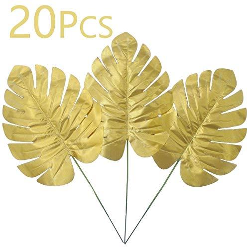 Wisolt Fronds de palmera dorada, paquete de 20 hojas de palma tropicales artificiales para bodas, cumpleaños, decoración hawaiana de fiesta