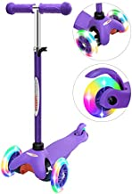 ChromeWheels Scooter for Kids, Deluxe 3 Wheel Scooter for Toddlers 4 Adjustable Height Glider with Kick Scooters, Lean to Steer with LED Flashing Light for Ages 3-6 Girls Boys, Purple