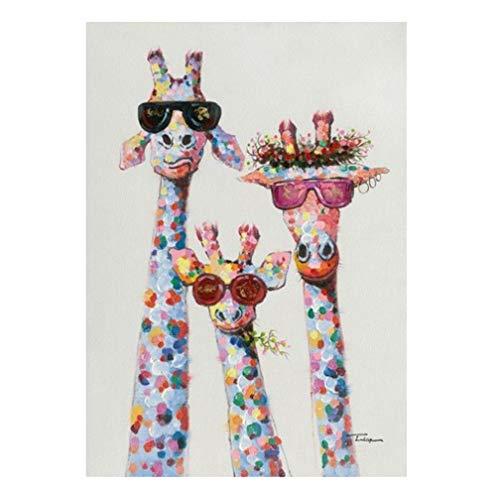Impresión De Lienzo Pintura Al Óleo Jirafa, Cuadros De Pared Cartel De Animal Abstracto Sala De Estar Dormitorio Decoración Del Hogar Sin Marco Arte De Pared,28
