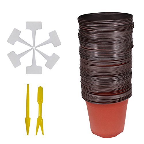 Huvai - Juego de 50 macetas de plástico de 15 cm con 50 etiquetas de plástico impermeables tipo T para plantas y 2 mini herramientas para transplantar