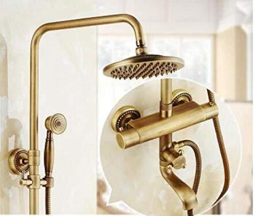 Grifo de ducha termostático de bronce antiguo juego de grifo de baño Juego de ducha de lluvia con grifo de pared de doble manija,X1K2YSBOPAGRO